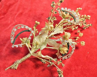 French vintage wax flowers hair piece with brooches, end of 19th century bridal headpiece with wax flower and glass beads, set of 5