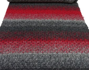 Fabric Ital wool knitted fabric with angora gradient strip studs red grey Anthracite (30.00 EUR/meter)