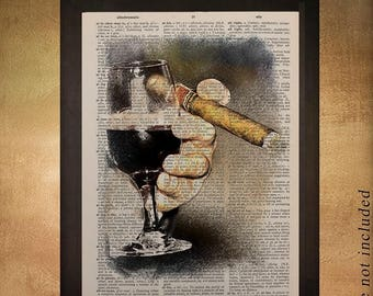 SALE-SHIPS Aug 22- Wine Cigar Dictionary Art Print Bart Art Alcohol Man Cave Gifts for Men Gift Ideas Boyfriend Fathers Day da974