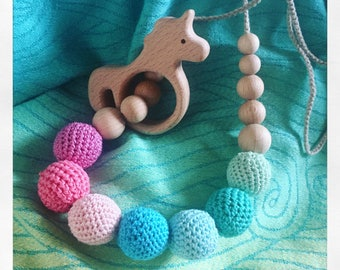 Nursing necklace/necklace handmade babywearing to crochet with cotton and wood beads