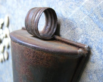 a small vintage French scoop, seed scoop, metal scoop, rust,patina