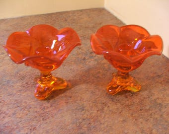 Pair of Vintage 1960s Viking Glass Epic Drape Tri-Foot Persimmon Candle Holders