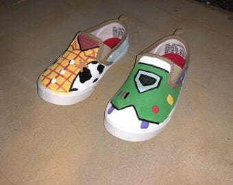 Toy Story Handpainted Woody and Buzz Lightyear shoes