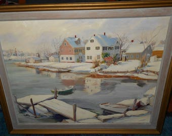 Large Oil Painting Wickford, RI by John Huszer  Prominent Rhode Island Artist