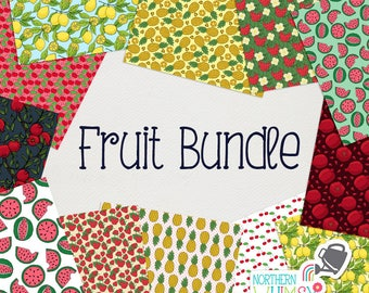 Fruit Digital Paper BUNDLE - save 50% on Northern Whimsy hand drawn fruit seamless pattern sets!  Small commercial use (CU) license included