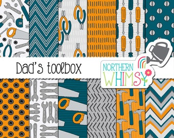 """Father's Day Digital Paper - """"Dad's Toolbox"""" - scrapbook papers with tools - saw, hammer, screwdriver & wrench seamless patterns - CU OK"""