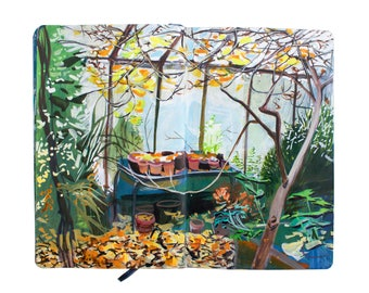 "Fine Art Print of Landscape Painting from Artist Sketchbook – ""Devon Greenhouse"""