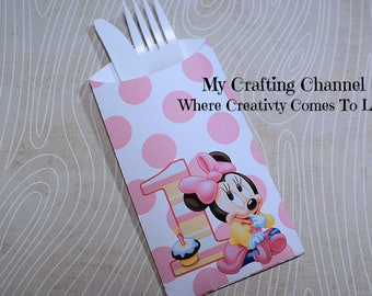 Baby Minnie Mouse 1st Birthday Flatware Pouch Sets-Minnie-Minnie Mouse-Silverware Pouch-Flatware Pouch-Baby Minnie 1st Birthday