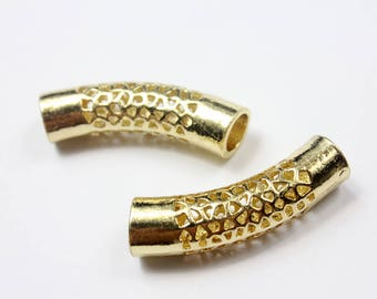 2pcs 8mm Hole Gold Plated Hollowed Finding Tube for Bracelet and Necklace, 44mm Long TU100