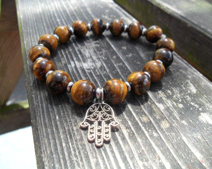Featured listing image: tigers eye stretch bracelet with Hamsa hand charm