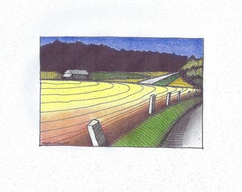 Buck Bay Farm (hand-colorized print)