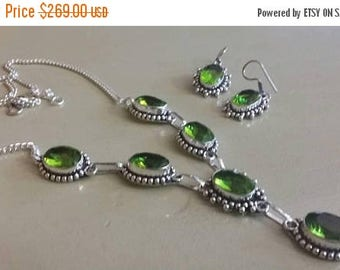Holiday SALE 85 % OFF Peridot   Necklace Earrings  Set .925 Sterling  Silver Gemstone