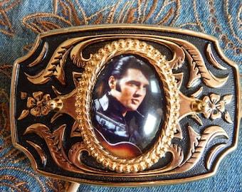 Handcrafted in the UK Elvis Presley Gold / Black Belt Buckle American Singer Rock and Roll Rockabilly Ladies Mens