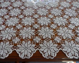Vintage Hand Crocheted Tablecloth/Bedspread* Ecru Color . Elegant . Snowflake Design . Floral Design .