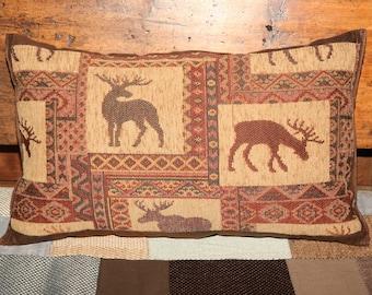 -cushion fabric upholstery - reindeer - brown - beige.