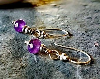 Amethyst earrings, sterling silver earrings, healing crystal earrings