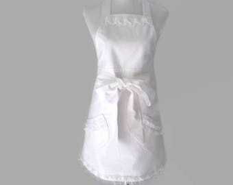 Womens White Ruffled Apron, Personalized Bridal Apron, White Wedding Apron, White Bride Apron, Dressy White Apron, Shower Gift for Her