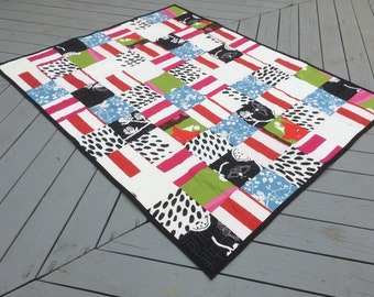 Modern Throw Size Patchwork Quilt, throw blanket, house warming gift