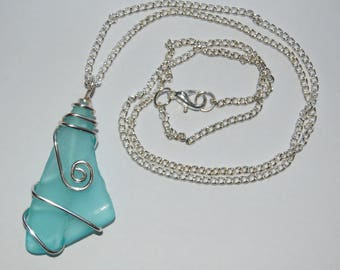 Wire wrapped Tumbled Glass Necklace