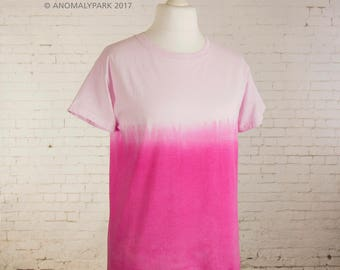 Pink boho top women clothing ombre dip dyed pink gradient women top pastel grunge shirt pastel goth steampunk clothing size Medium