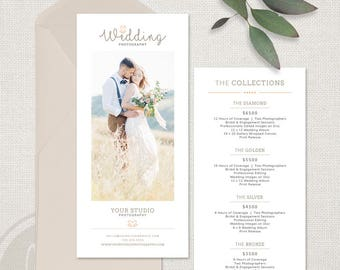 Rack Card Template - Wedding Photography Marketing Card Template, 4x8 Rack Card, Wedding Promo Card, Wedding Photography Pricing Guide