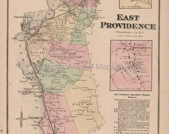 East Providence Rhode Island Antique Map Beers 1870