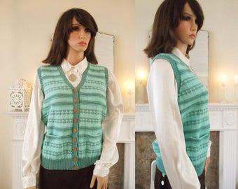 Hand Knitted sweater vest  40s style hand knitted Fairisle waistcoat Vintage style handknit Turquoise duck egg 40s style handknit sweater