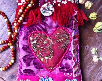 Heart bag, boho shoulder bag, festival bag, handmade bag, gypsy embellished bag, patchwork bag, ethnic bag, gypsy bag, red bag