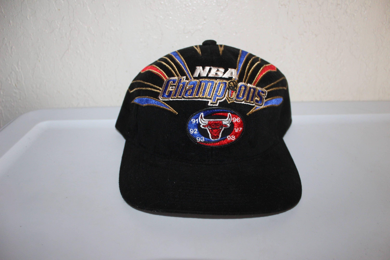 53a3957b7dc Vintage 90 s NBA Champions Chicago Bulls Baseball Hat by Starter ...