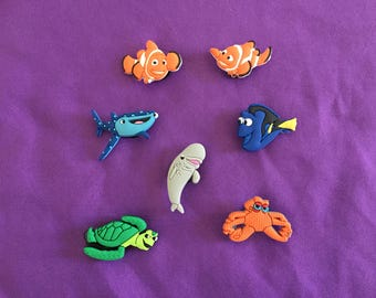 7-pc Finding Dory / Nemo Shoe Charms for Crocs, Silicone Bracelet Charms, Party Favors, Jibbitz