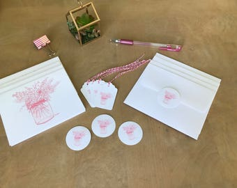 Pink Botanical Stationery 16pc Set - 4pc Notecards - 4pc Gift Tags/Twine- 4pc Stickers - Stationery - Cards - Flower Design -Great Gift Set