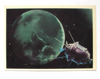 Space, Postcard with painting by Viktorov, Space, Back side of the Moon, Unused, Unsigned, Soviet Vintage Postcard, USSR, 1971