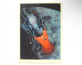 To Moon, Space, Spacecraft, Unused Postcard, Painting, Leonov, Illustration, Unsigned, Rare Soviet Vintage Postcard, USSR, 1966, 1960s