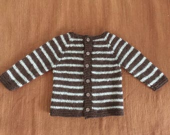 Pure alpaca handknitted sweater, hand knitted for baby