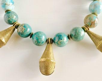 Africa Inspired Blue Green Jasper and Brass Statement Necklace
