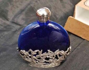 Attractive Art Nouveau Style Cobalt Blue Glass Scent Perfume Bottle in Original Box