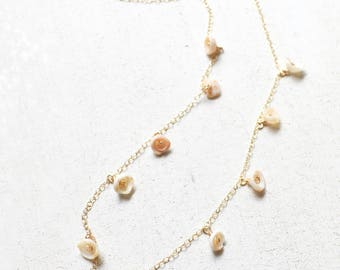 Puka Shell Choker, Puka Shell Necklace Gold, Dangling Choker, Shell Choker Necklace