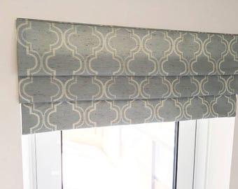 """Valance - Pleated Roman Shade """"Selena Tiffany"""", Geometric pattern, Windows Treatment, Ready to made"""