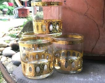 glasses Vintage set Culver Gold rocks bar