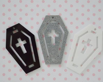 50mm Pastel Goth Black White Silver Coffin Charm - set of 3