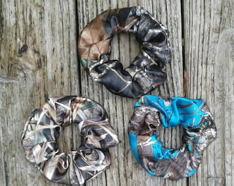 hair scrunchies. Girls and Adult sizes. Now other camo colors available Select option for size,quaintly & fabric.