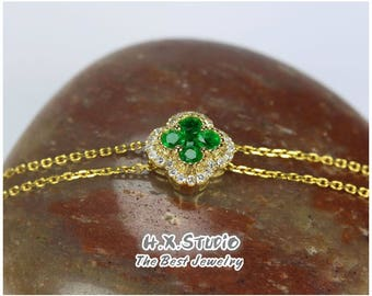 Solid 18K Gold Diamond & Emerald Lucky Clover Four Leaf Bracelet,Anniversary/Wedding,Bridal Jewelry,Irish Luck Shamrock, Quatrefoil Bracelet