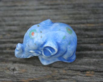 Elephant painted blue shiny
