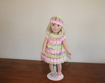 "AG pink, purple, green & yellow dress, shoes, hat, undies, AG doll clothes, 18"" doll clothes, 18"" doll dress, 18 inch doll dress, AG shoes"
