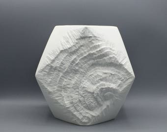 AK Kaiser 275 - 21 large square bisque porcelain Mid Century Modern Fossil / Rock  1960s / 1970s vase West Germany.