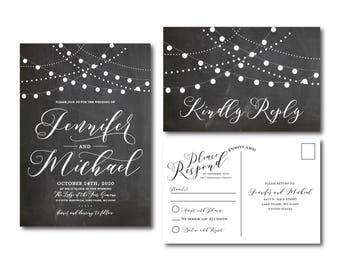 Chalkboard Wedding Invitation, String Lights, Chalkboard Wedding, Printable Wedding Invitation, Rsvp Postcard, Wedding Rsvp #CL103