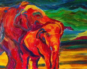 Rainbow Asian Elephants, Original Acrylic Painting