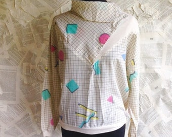 HALF OFF Closing Sale 1980s Patterned Long Sleeve Top   grid and shapes   high neck   Geometry