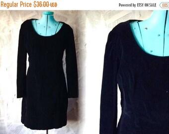 HALF OFF Closing Sale 1990s Black Velvet Mini Evening Dress | Long Sleeve | Boatneck