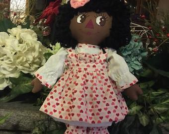 Ethnic Valentine Raggedy Ann doll.  Black Raggedy Ann  dressed in Valentine hearts attire.